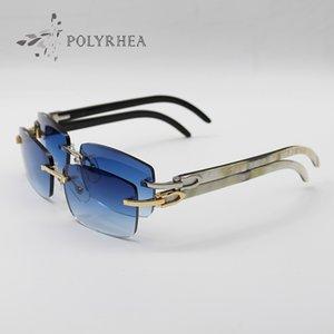 Hot Luxury Sunglasses 3524012 Natural Black And White Horizontal Vertical Stripes Buffalo horn Rimless Sun Glasses Men Women Brand Designer Original Packing Box