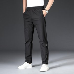 Летние 2021 тонкие молодые мужские откалывание негабаритные эластичные талии прямые брюки быстро сушильные джинсы