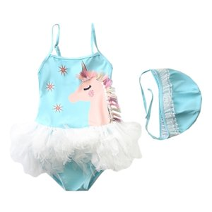 New Swimming Dress for Girls 1~9Y Baby Girls Swimsuit Unicorn Ins Children Swimming suit with cap Swimwear for kids -SW446 210324