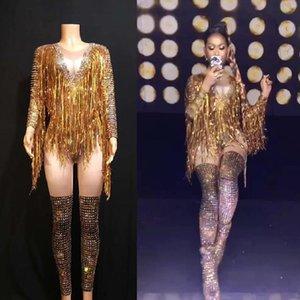 Stage Wear Rhinestone Bodysuit Womens Gold Sequin Tassel Jumpsuit Long Sleeve Elastic Sexy Fashion Bar Nightclub Dj Costumes