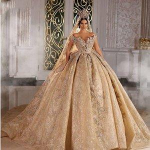 2022 Shinny Ball Gown Wedding Dresses Champagne Off Shoulder Luxury Crystal Beaded Saudi Arabian Dubai Bridal Gowns Plus Size