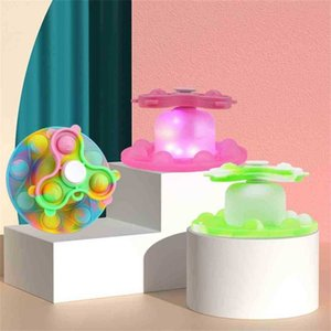 Children's Rainbow Luminous Push Pioneer Silicone Fidget Toys Poppers Bubbles Fingertip Top Adjustable Home LED Night-light Decompression Toy Gifts G95EF0X