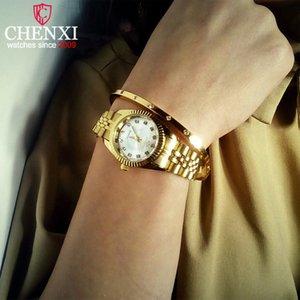 Mulheres luxo relógios senhoras moda relógio de quartzo para mulheres de aço inoxidável dourado relógios de pulso casual relógio feminino xfcs