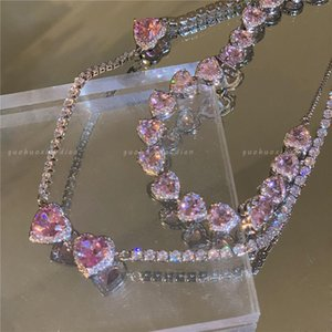 Chains 2021 Pink Rhinestone Core Necklace Pendant Y2K Aesthetic Romantic Heart For Woman Jewelry Wholesale