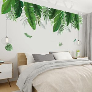 Wall Stickers Jungle Green Leaves Sticker Decoration Living Room Restaurant Seaside Plant Swallow Art Mural