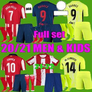 Joao Felix Atletico Suarez Madrid Soccerid Jerseys 2021 2022 Saul Camisetas 20 21 22 Llorente Correa Футбол футболка Мужчины Детский комплект Набор