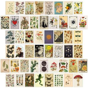 50Pcs Vintage Botanical tarot Aesthetic Wall Collage Kit Flora & Fauna Insects Illustration Art Posters Card Bedroom Decor Girls 210831