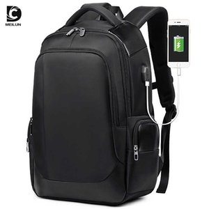 Suitcases Korean Casual Usb Men's Backpack Breathable Wear-ristant Busins Computer Travel Bag Student Schoolbag