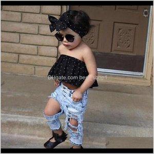 Mode Kids Baby Mädchen Kleidung Set 3 stücke Punkt Wickelte Brust Crop Top Zerrissene Loch Jeans Pantsheadband Outfits Casual KG31 Sets Vremd