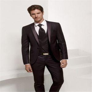 Костюмы новейшие штаны дизайн дизайн бордовый формальный бизнес свадебные платья тощий современный танец вечеринка мягкий пиджак 3 частей набор