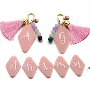 26 Русский Письмо брелок Tassel Beychain Сумка Подвески Геометрический Алмазный Акриловый Ключевой Брелок Party Pink Color OWA4466
