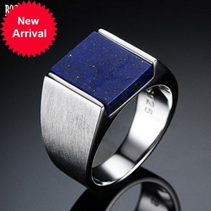 BOCAI New 100% Pure S925 silver men's ring inlaid with natural lapis lazuli rings for Man Korean fashion domineering