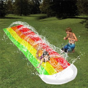 Water Slide Thick Durable Racing Slip Slide Mat PVC Inflatable Spray Water Toy Slider Splash Pool For Kids Adults Outdoor Game X0710