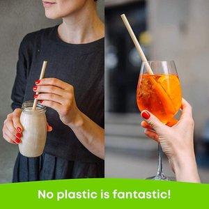 Drinking Straws 100pcs set Portable Natural Wheat Straw 100% Biodegradable Environmentally Friendly Kitchen Bar Accessory