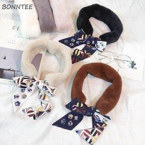 Scarves Women Trendy Cute Patchwork Faux Fur Collar Autumn Winter Ring Womens Scarf Korean Elegant Warm Student Scarfs Bandanas