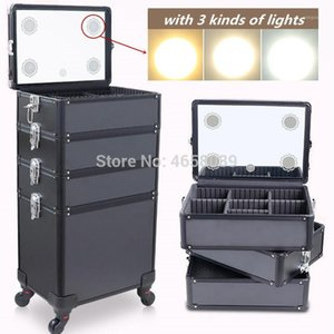 Multi-layer Aluminum Frame Cosmetic Case,Dresser Makeup Toolbox With Light,Makeup Artist Suitcase Box,Trolley Luggage Bag1