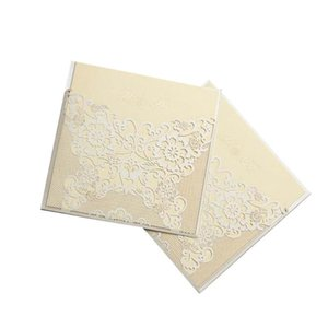 3pcs Hollow Out Invitation Letter Elegant Wedding Invitations For Marriage Engagement (Beige) Greeting Cards