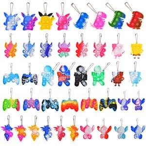 Fidget Keychain Pendant Toys Squeeze Press Bubbles Push Sensory Bubble Decompression Toy Children Adult Key Ring Pendants Educational Anti-stress Decor Bag