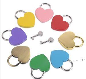 Heart Shaped Concentric Lock Metal Mulitcolor Key Padlock Gym Toolkit Package Door Locks Building Supplies HHF9545