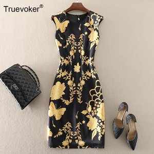 TRUEVOKER Summer Runway Desinger Abiti da donna Retro Baroque Stampato Abito a matita 2xL Female Festa Vestidos Ladies Party Casual