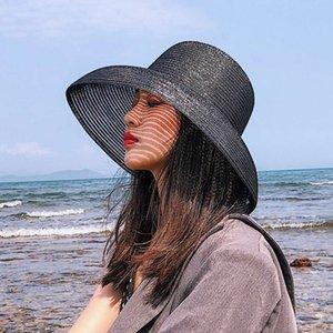 Parlak ipek siyah saman kadın yaz moda kubbe Hepburn geniş ağızlık güneş plaj şapka
