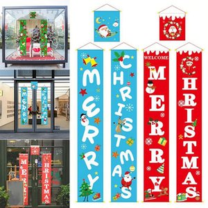 Merry Christmas Banner Couplet Door Curtain Cloth Welcome Flag Hanging Ornament WLL421