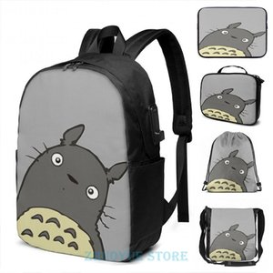 Backpack Funny Graphic Print Totoro 2 USB Charge Men School Bags Women Cosmetic Bag Travel Laptop