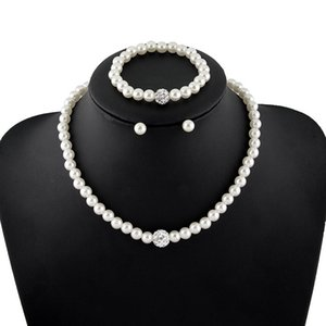 High Quality Cream Glass Pearl and Disco Rhinestone Ball Women Bridal Necklace Bracelet and Earrings Wedding Jewelry Sets 502 Q2