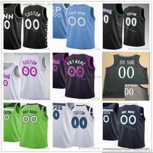 Özel Baskılı Basketbol Formaları Russell 23 Jarrett Culver 20 Josh Okogie 8 Jarred Vanderbilt 11 Naz Reid 4 Jaylen Nowell McLaughlin Davis Jersey
