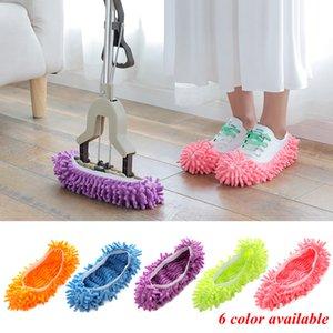 Zapatillas limpiando la cubierta de la zapata multifunción Limpiador de polvo sólido Casa Cuarto de baño Zapatos de piso Mops Limpieza de trapeador Slipper 6 colores Yfa2922