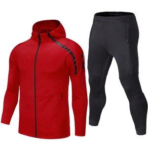Outono inverno jaqueta com capuz homens terno esportes ginásio fitness corrida calças juventude zipper alto elasticidade hoodies manga comprida masculina