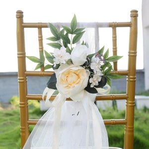 Creative Wedding Chair Cover Decorative Flowers Photography Simulation Chair Back Flower Hotel ChairCover Decorations Bouquet BWB10781
