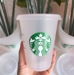 Starbucks Becher 16Oz 24 Unzen Becher Tassen Kunststoff Trinksaft mit Lippe und Stroh Magie Kaffeetasse Costom Transparent Cup 50 stücke DHL Transport