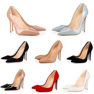 Top Quality Bottom Bottom Ladies Tacchi alti Nude Color Sandali a punta A Moda Banchetto Stylist Stylist Scarpe Dress Shoes Shoes Shoes Pelle con borchie S O70F #