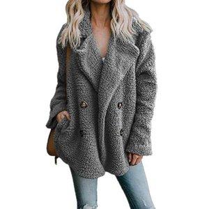 Sonbahar Teddy Ceket Kadınlar Artı Boyutu Faux Kürk Kadın Kalın Sıcak Peluş Teddy Ceket Uzun Kollu Kış Coat Kadınlar 5XL T200909