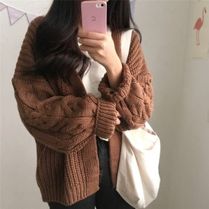 Women Loose Cardigan Coat Autumn Winter Long Sleeve Knitted Sweater Jacket Solid Pattern Harajuku Fashion Solid Casual Warm Cardigan