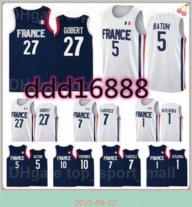 2021 Tokyo Olympics France Basketball Jersey Rudy Gobert 27 Nicolas Batum 5 7 Guerschon Yabusele 1 Frank Ntilikina 10 Evan Fournier Vincent
