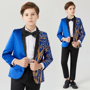 Childrens blue sequined suit Flower Boys Formal Suit Kids Wedding Birthday Party Dress Child Tuxedo Prom Performance Costume