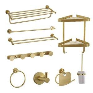 Bathroom Accessories Set, Brass Brushed Gold Paper Holder,Towel Bar,Towel Rack,Toilet Brush Holder, Corner Shelf,Bath Hardware Bath Accessor