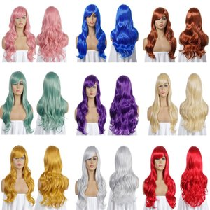 27 Inches 70cm Long Cosplay Synthetic Hair Wigs in 11 Colors Wave perruques de cheveux humains KW-70
