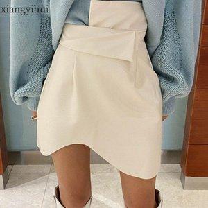 Skirts White Sexy Fashion High Waist Pu Leather Skirt Women Autumn Asymmetric Mini Street Vintage Women's Asymmetrical