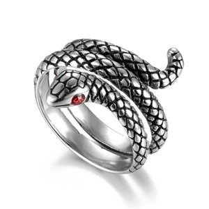 Vintage Punk Snake Band Rings for Men Animal Stainless Steel Finger Ring Fashion Jewelry