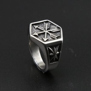 Cluster Rings Vintage Viking Arrow Ring Punk 316L Stainless Steel Compass Men Fashion Hip Hop Hippie Jewelry Drop Store
