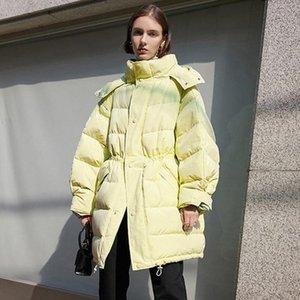Janveny Women's Winter Down Jacket Hooded Long Parkas 2020 White Duck Down Jacket Women Puffer Coat Thick Warm Feamel Coats