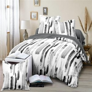 Black White Art Texture Simple Comforter Bedding Set Modern Home Textile King Queen Twin Size Bed Linen Duvet Cover Sets