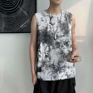 tops High street tie dyed waistcoat men's fashion brand ins trend ruffian handsome sleeveless T-shirt