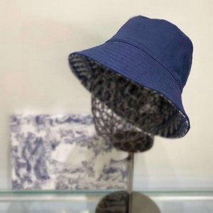 2021 Designers obliques Chapeau de seau pour Femmes Chapeaux et Caps Caps Patchwork Seau de Denim Solde Solide Bord de coton à double face Porte-bas de pêche
