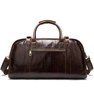Erkek Hakiki Deri Seyahat Çantaları Duffle Büyük Çanta Timsah Bolso De Viajehand Bagaj Erkekler Bavul Duffel Seyahat