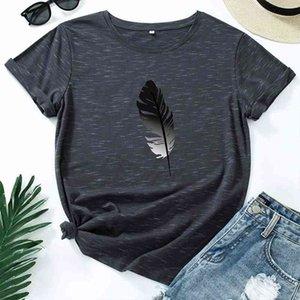 JCGO mujeres camiseta algodón más tamaño 5xl casual verano pluma impresión manga corta moda femenina femenina gráficos tops 210325