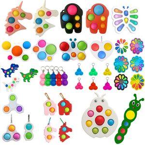 FIDGET 장난감 감각 다채로운 간단한 딤플 키 링 푸시 거품 팬터 짜기 공을 키 체인 유니콘 나비 거품 압축 깜짝 놀라움 인 Figet 장난감 도매